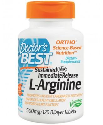 Doctor's Best, L-arginina, 500 mg, 120 comprimidos bicapa