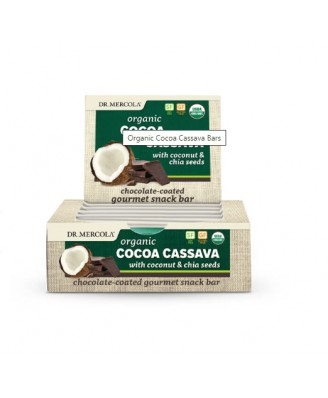 Organic Cocoa Cassava with Coconut & Chia Seeds (12 Bars 44 g Each ) - Dr. Mercola