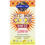 Vitamin Code - Raw D3- 2.000 IU (60 Vegetarian Capsules) - Garden of Life