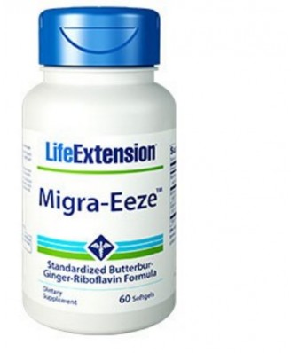 Migra-Eeze estandarizado de Ciénaga-jengibre-riboflavina fórmula - 60 cápsulas - Life Extension
