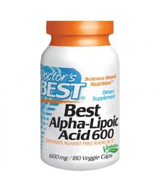 Doctor's Best -  mejor ácido alfa-lipoico, 600 mg, 180 tapas vegetarianas