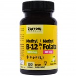 Methyl B-12 & Methyl Folate Lemon Flavor 1000 mcg / 400 mcg (100 Lozenges) - Jarrow Formulas