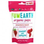 Organic Strawberry Pops, Strawberry Smash, 14 Pops, 3 oz (85 g) - Yummy Earth