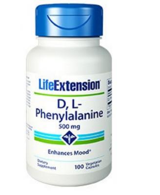 D, L-fenilalanina cápsulas 500 mg - 100 cápsulas vegetales - Life Extension