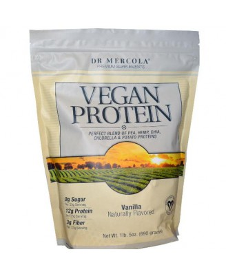 Dr. Mercola, Premium Supplements, Vegan Protein Vanilla, 1 lb 5 oz (690 g)