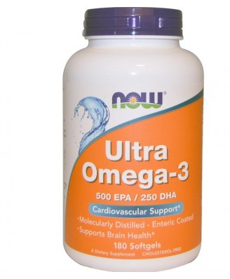Ultra Omega 3, 180 softgels (Enteric Coating) - Now Foods