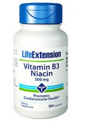 Vitamina B3 Niacina 500 Mg - 100 Cápsulas - Life Extension
