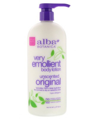 Natural Very Emollient Body Lotion Unscented Original (907 g) - Alba Botanica