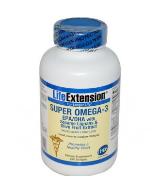 Life Extension, Super Omega-3, EPA/DHA With Sesame Lignans & Olive Fruit Extract, 240 Softgels
