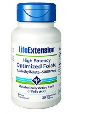 Alta potencia optimizado folato (L-metilfolato) 5000 Mcg - 30 pastillas vegetarianas - Life Extension
