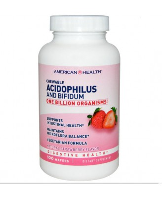 American Health, Masticable acidophilus y bifidus, aroma de fresa natural, 100 Obleas