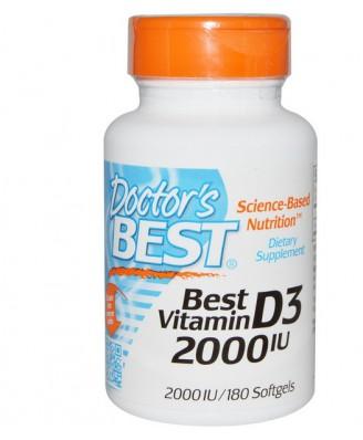 Doctor's Best, Best Vitamin D3, 2000 IU, 180 Softgels