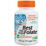 Doctor's Best Mejor folato totalmente activo que Quatrefolic 400 mcg, 90 Caps de Veggie