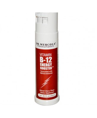 Dr. Mercola, Vitamin B-12 Energy Booster, Natural Cherry Flavor, .85 fl oz (25 ml)