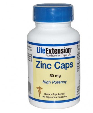 Life Extension, Zinc Caps High Potency 50 mg, 90 Veggie Caps
