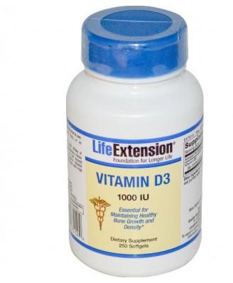 Vitamin D3 1000 IU (250 Softgels) - Life Extension