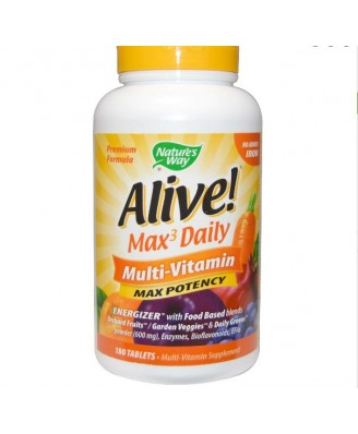 Nature's Way  Alive! Whole Food Energizer Multi vitamina, máxima potencia, sin hierro añadido, 180 comprimidos