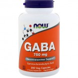 GABA- 750 mg (200 Vegetarian Capsules) - Now Foods