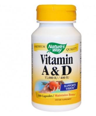 Nature's Way, Vitamin A and D, 15,000 IU / 400 IU, 100 Capsules