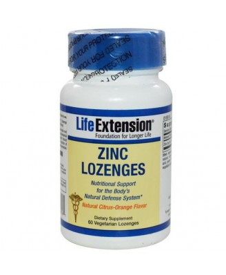 Zinc Lozenges- Natural Citrus-Orange Flavor (60 Veggie Lozenges ) - Life Extension