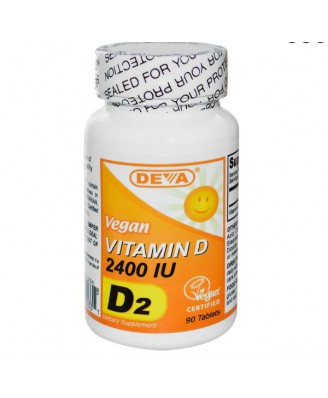 Vegetarische Vitamine D2, 2400 IE (90 Tabletten) - Deva
