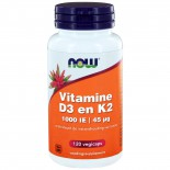 Vitamine D3 1000 IE & Vitamine K2 (120 veggie caps) - Now Foods